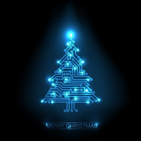 디지털: 디지털 전자 블루 회로 및 조명에서 크리스마스 트리