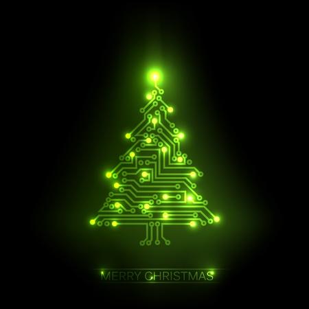 Árbol de navidad de la electrónica digital de circuito verde y las luces