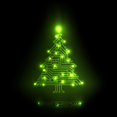 christmas tree from digital electronic green circuit and lights Vector