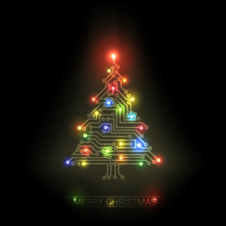 integrated: christmas tree from digital electronic circuit and colorful lights