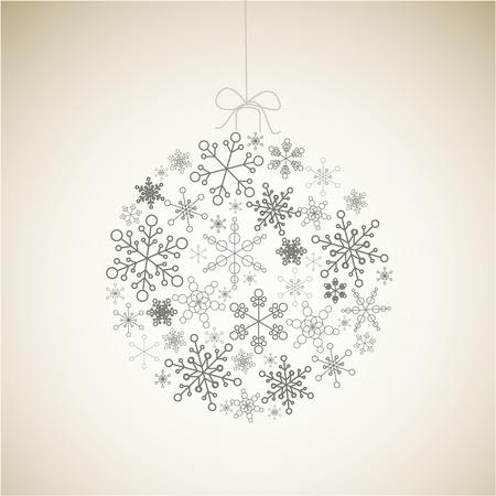 Bolas de Navidad de copos de nieve simples gris sobre fondo claro - tarjeta de Navidad