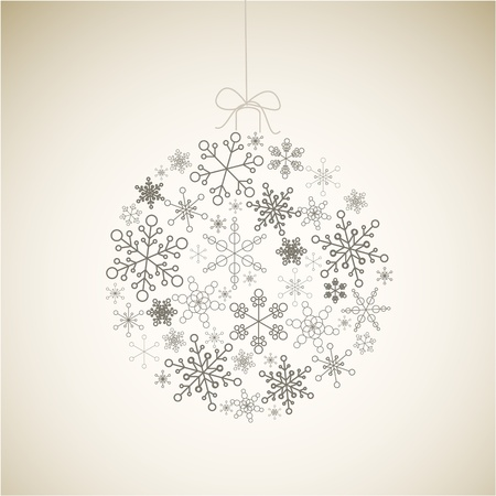 Christmas ball made from gray simple snowflakes on light background - Christmas card Illustration
