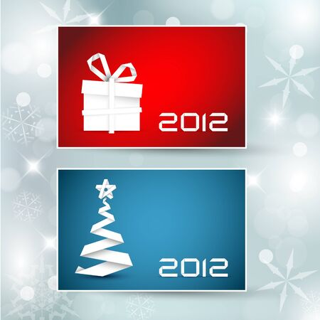 Set of christmas / New Year banners (cards) 2012 - blue and red version Stock Vector - 10859548