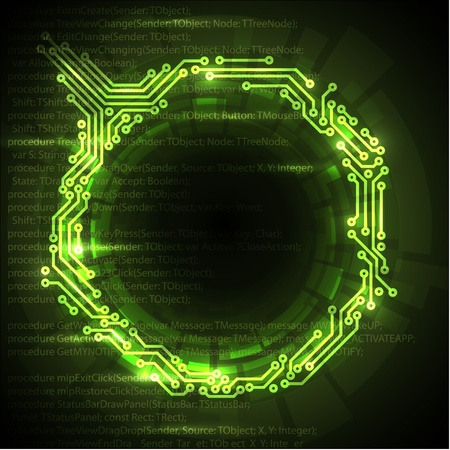 geek: Abstract green technical background with place for your text