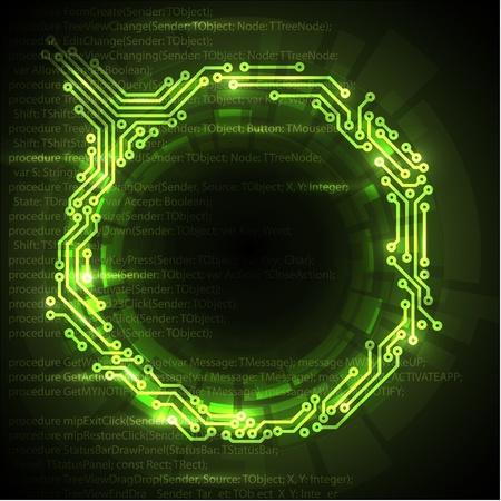hacking: Abstract sfondo verde tecnica con posto per il testo