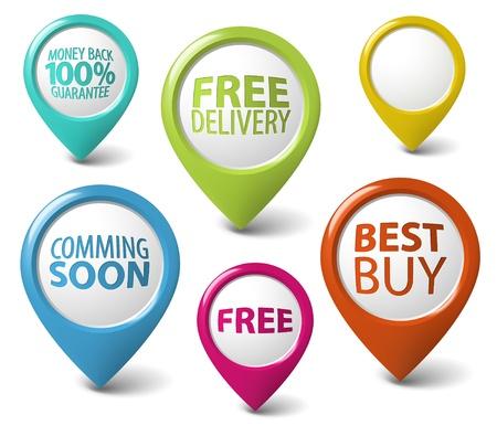 proximamente: Puntero redondo en 3D para objetos eshop - entrega gratuita, la mejor compra, la garant�a Vectores