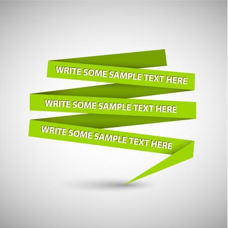 nakładki: Wektor zielony dymka z papieru na białym papierze Ilustracja