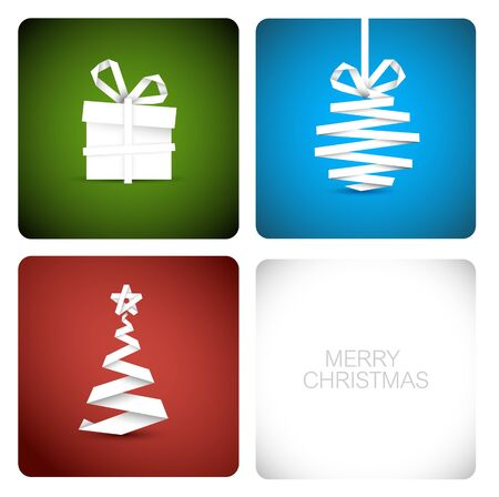 Simple vector christmas decoration made from white paper stripe - original new year card Stock Vector - 10952318