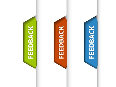 bookmarks: Feedback tabs on the edge of the (web) page - red, green and blue