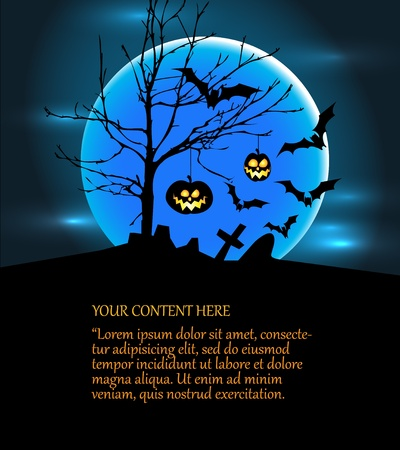 Halloween illustration with pumpkins, bats, big moon and place for your content Vector