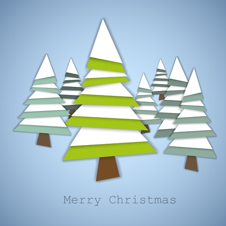 snippet: Simple vector christmas trees made from green and white pieces of paper - original new year card