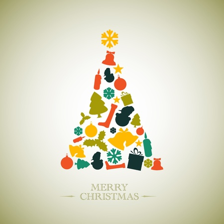 Vintage Vector christmas tree made from various shapes Vector