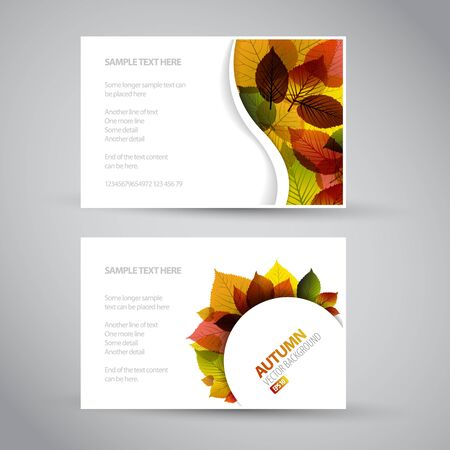 saturate: Vector Fresh natural fall banners with leafs and sample text