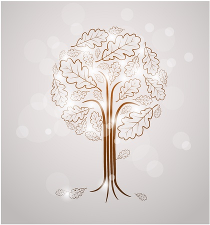 Vintage abstract tree drawing made from oak leafs and white lights Vector