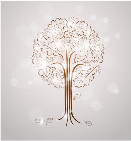kassen: Vintage abstracte boom tekening gemaakt van eiken bladeren en witte lichten