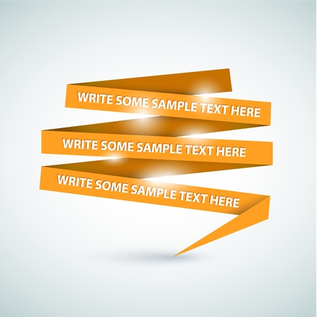 sample: Vector Orange speech bubble made from paper on white paper