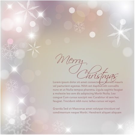 Vector Christmas background with white snowflakes and place for your text Illustration