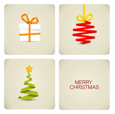 Simple vector christmas decoration made from white paper stripe - original new year card Stock Vector - 11099710