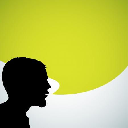conversations: Speaker silhouette astratta con grande bolla verde - posto per il contenuto