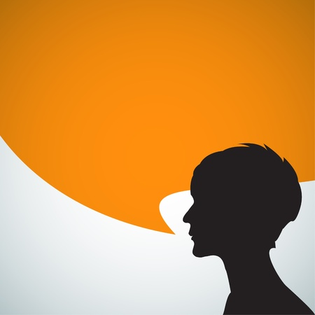 Abstract speaker silhouette with big orange bubble - place for your content Vector