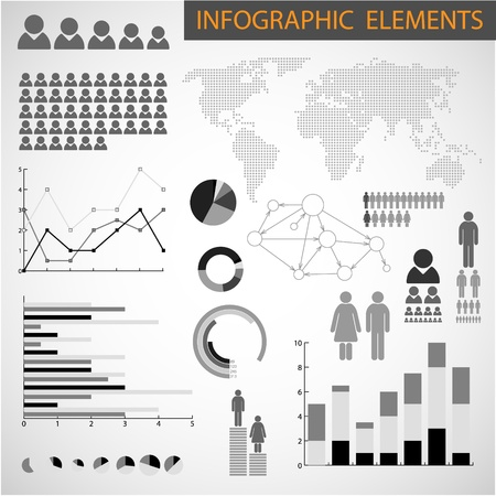 demographics: Big Vector Black and white set of Infographic elements for your documents Illustration
