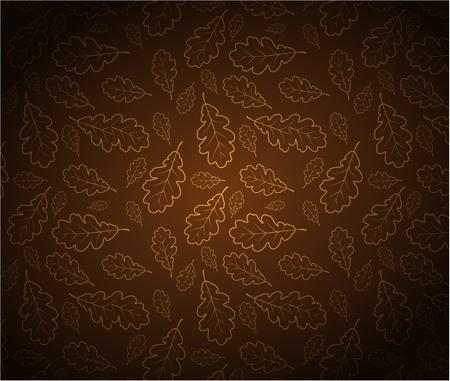 outline drawing: Foglie di quercia schema di disegno texture - sfondo autunno Vettoriali