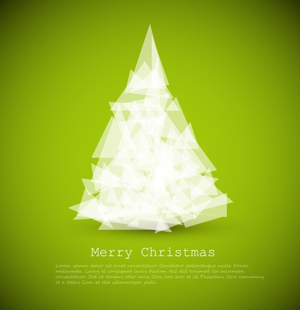 conceptual symbol: Vector modern card with abstract white christmas tree on a green background