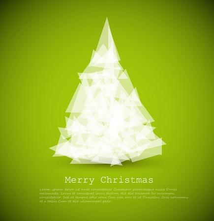 Vector moderne Karte mit abstrakten weißen Weihnachtsbaum auf einem grünen Hintergrund Standard-Bild - 11099727