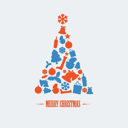 Vintage Vector christmas tree made from various shapes (blue and red) Vector