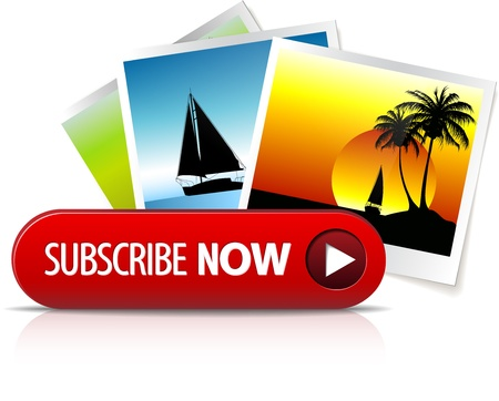 Big red subscribe now button with images for subscription Vector