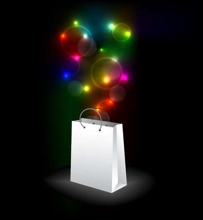 white paper bag: Vector shopping bag with a surprise - colorful lights Illustration