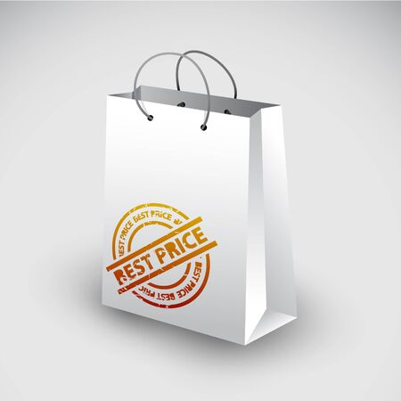 White shopping bag icon with best price stamp Stock Vector - 11099720