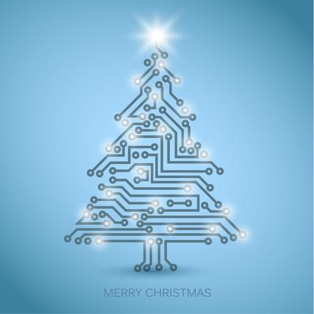 Vector árbol de Navidad de circuitos electrónicos digitales - versión azul con luces blancas