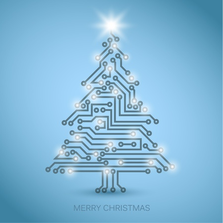 integrated: Vector christmas tree from digital electronic circuit - blue version with white lights