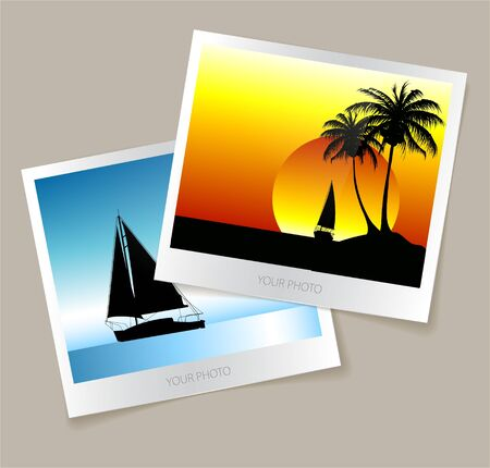 Set of colorful photos from the holidays - yachts, ocean, summer Vector