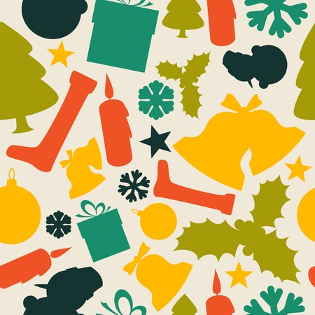 Seamless vector christmas pattern from various shapes Vector