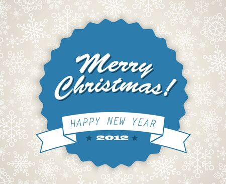 Simple vector blue vintage retro Christmas card with snowflakes on the background Stock Vector - 11099738
