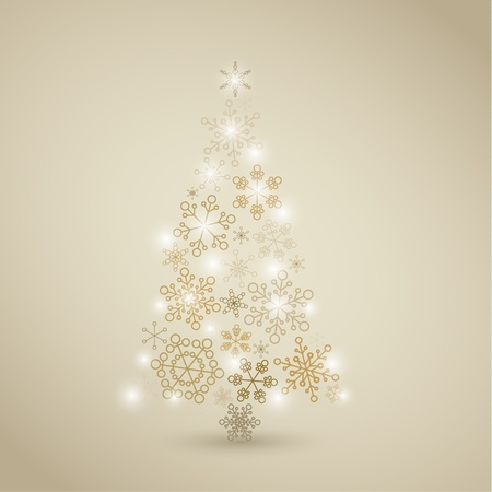 winter time: Christmas tree made from simple abstract golden snowflakes