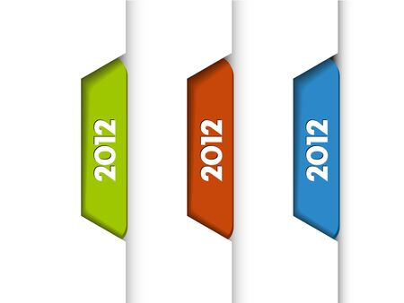 2012 Labels, Tabs, Tags  on the edge of the (web) page Stock Vector - 11145290