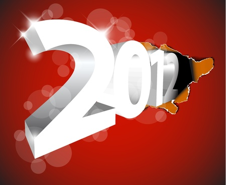 New Year 2012 coming from the big hole - design for the christmas card Stock Vector - 11145302