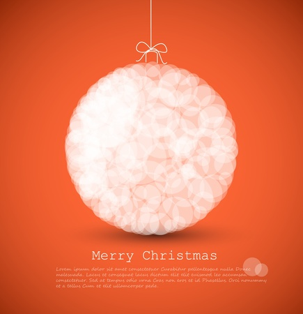 christmas baubles of modern design:  modern card with abstract white christmas decoration on a red  background