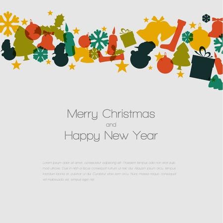 christmas card with various seasonal shapes Vector