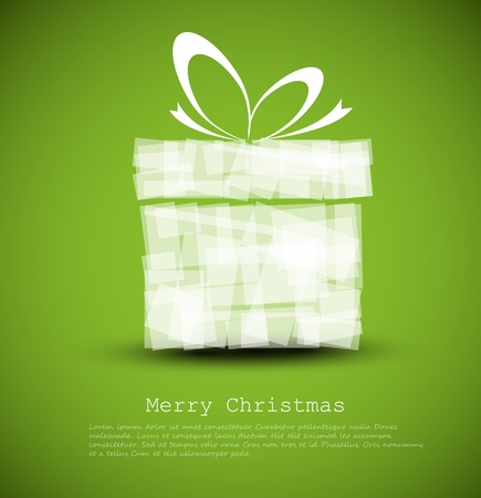 Simple green Christmas card with a gift made from rectangles Vector
