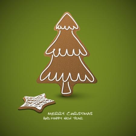 Weihnachtskarte - Lebkuchen mit weißem Zuckerguss auf grünem Hintergrund und Platz für Ihren Text