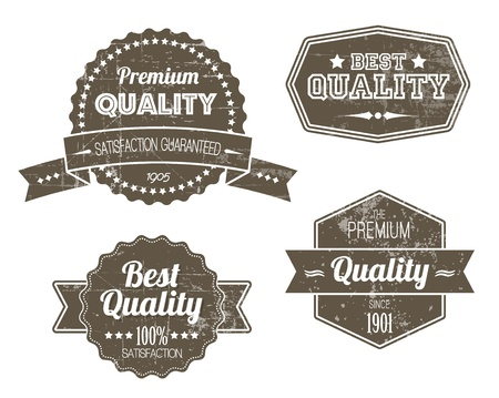 badge ribbon: Old dark retro vintage grunge labels - premium quality Illustration