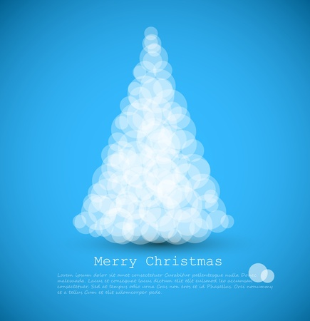 rings on a tree: modern card with abstract white christmas tree on a blue  background