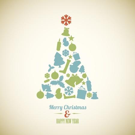 campanas navidad: A�ada los �rboles de Navidad realizados de diversas formas (azul y verde) Vectores