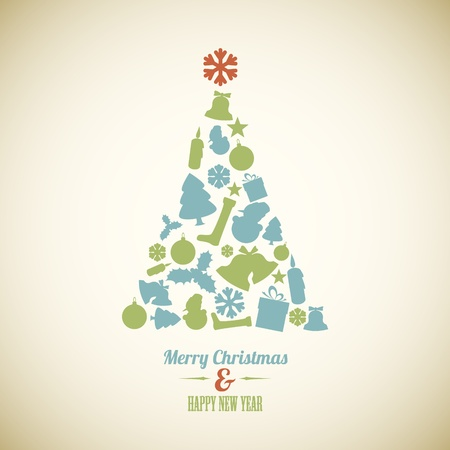 Vintage christmas tree made from various shapes (blue and green) Vector