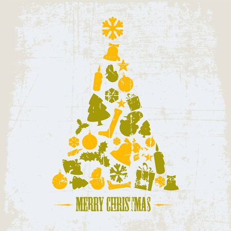 Vintage Grunge Christmas tree made from various shapes (yellow and green) Vector