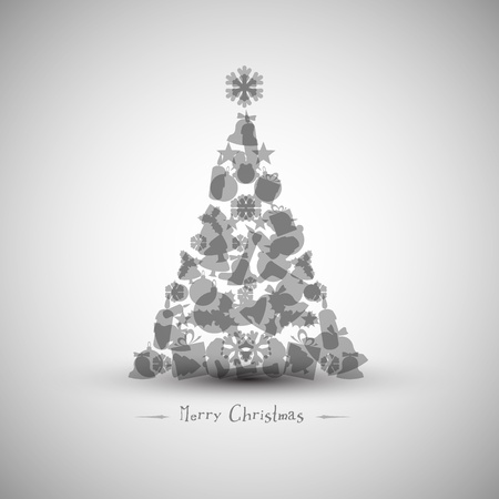 religious clothing: Vintage christmas tree made from various shapes (black and white version) Illustration